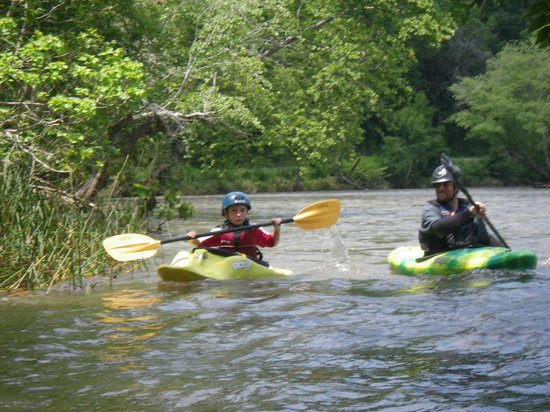 Nantahala Outdoor Center - Private Adventures : My youngest with the coolest kayake instructor Jerome