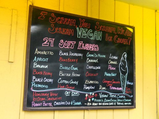 The Great Escape Ice Cream Parlor : Vegan menu posted outside the shop