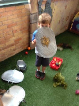 Duluth Children's Museum: older son play Mike the Knight