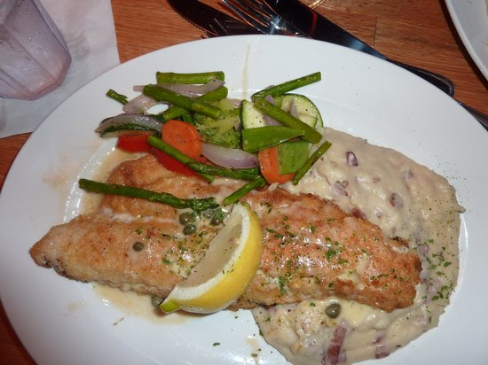 Apache Trout Grill : Walleye with mashed potatoes and fresh vegetables