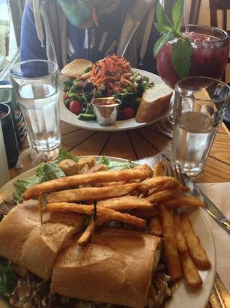 Crepevine : Steak sandwich, salad and a cup of Sangria - yum!