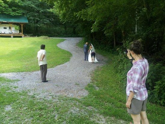Butterfly Hollow - A Hidden Retreat : The walking trail (with the wedding party) at Butterfly Hollow