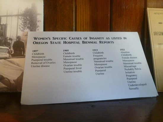 Oregon State Mental Hospital Museum: Top causes of insanity for women