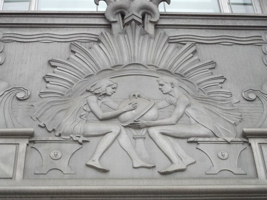 The Art Deco metal bas relief tells that this is a library - Picture ...