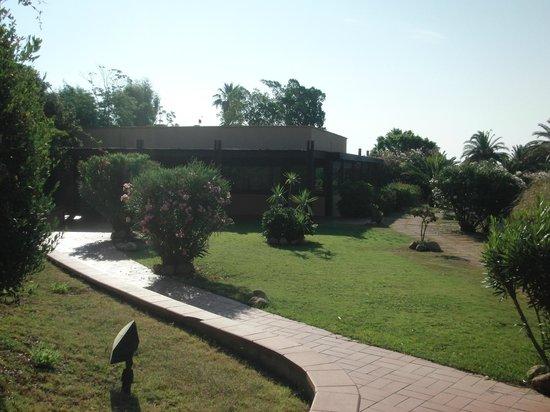 Is Molas Resort : giardino e sala ristorante