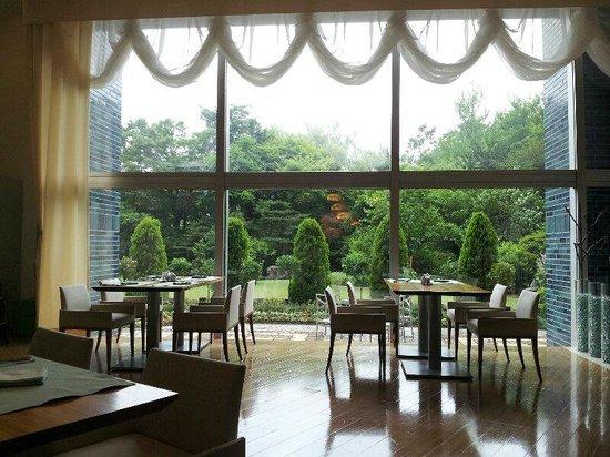 Sapporo Park Hotel : 朝食レストランからの眺め  奥に滝が流れています