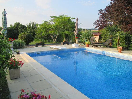 Semoussac, France: Pool and gardens