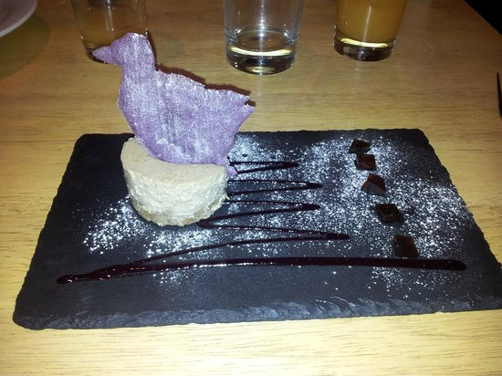 Coffee Cheesecake and Espresso Jelly with Purple Goose Tuille!
