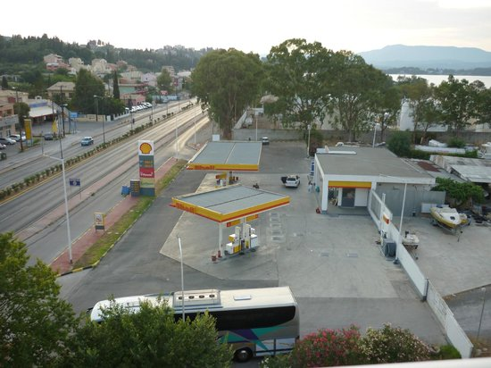 Sunset Hotel: view of petrol sation from room 402