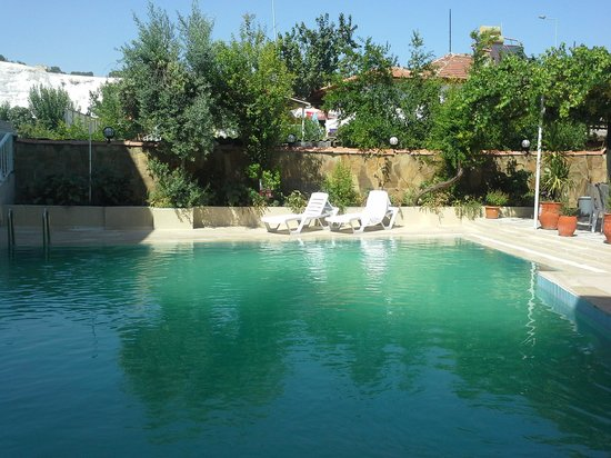 Alida Hotel Pamukkale: Swimming pool with the white terrace in the background