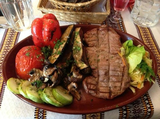 Korchma Taras Bulba : This was my veal steak with a side of grilled vegetables reccomended by out waiter