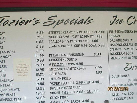 Tozier's Restaurant : Outside Menu