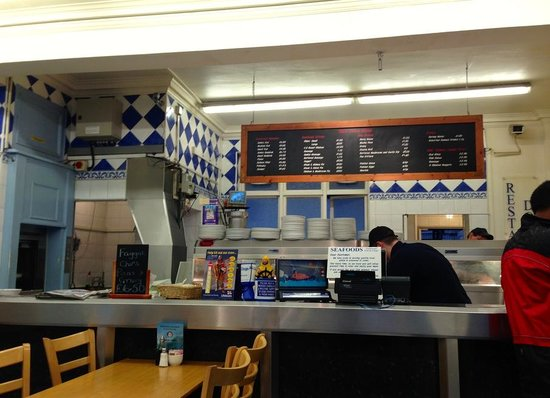 Seafoods Traditional Fish & Chips: Front inside Cafe area