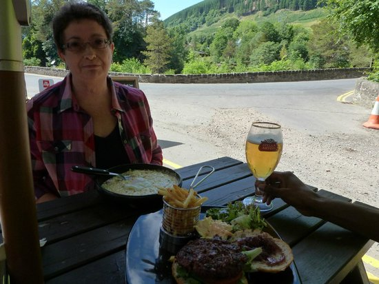 The Falls of Dochart Inn: venison burger and risotto