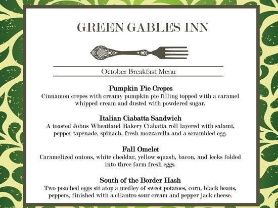 Green Gables Inn: Sample Menu