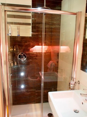 Space Apart Hotel: Room 101. Rainforest shower with cellulite enhancing spotlights!