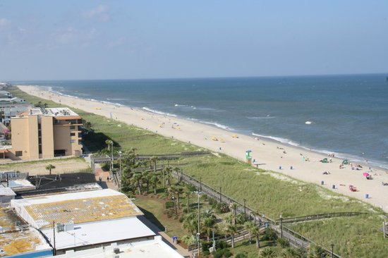 Courtyard Carolina Beach Oceanfront: View looking north. Boardwalk buildings in bottom left corner.