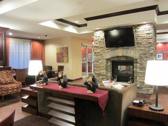 Hampton Inn Matamoras: Lobby area fireplace & TV
