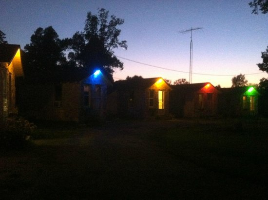 Rock Cabin Camping: The cottages at night!