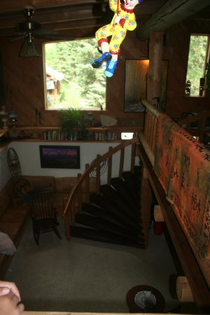 A Teton Tree House: Downstairs living room area