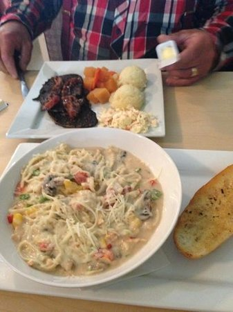 Family & Friends Restaurant & Catering: a whole lobster in the pasta!