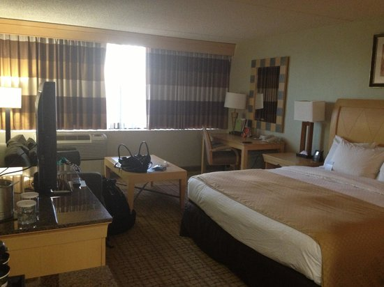 DoubleTree by Hilton Hotel Rochester: King bed room with sofa bed and our stuff :)