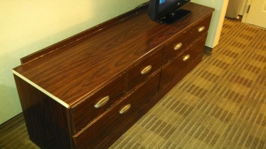 Extended Stay America - Newport News - Oyster Point : TV/Dresser - Dresser needs to be in the dumpster.