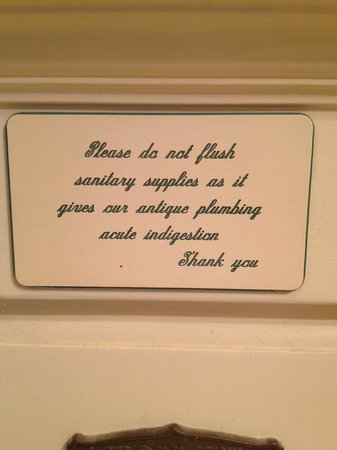 Gosby House Inn - A Four Sisters Inn: cute sign in the bathroom
