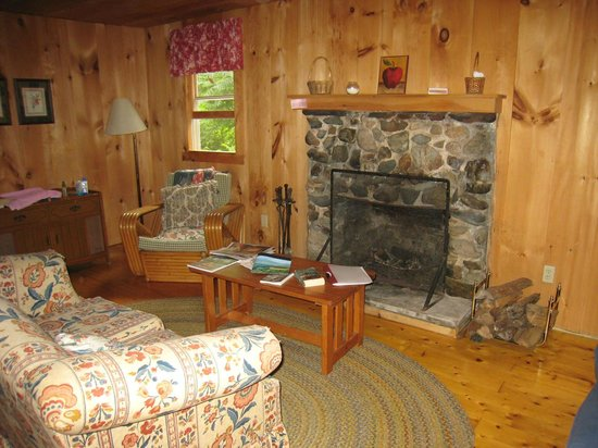 Loch Lyme Lodge & Cabins: Our cabin's living room, with fireplace