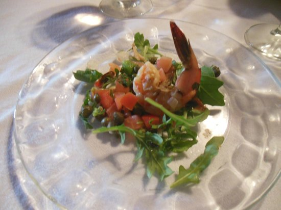Chez Jacqueline Restaurant: One of the 10 courses--a fresh shrimp salad