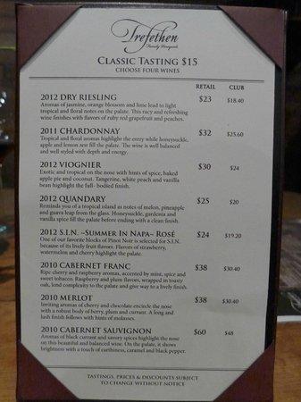 Trefethen Family Vineyards: Classic menu