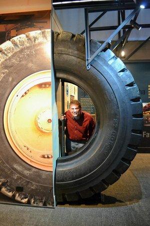 Waihi Martha Mine Pit Rim Walkway: Tire in the Visitor Center