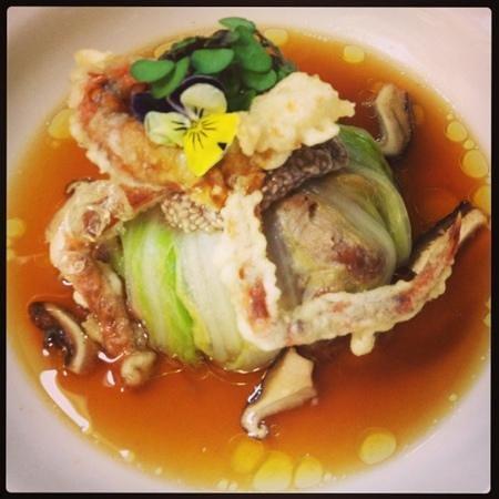 Balthazar Bar Restaurant: boar, shiitake broth, soft shell crab, Chinese cabbage