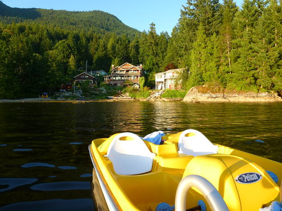 The Tuwanek Hotel: From the floating dock. The paddle boat is free for guests to use.