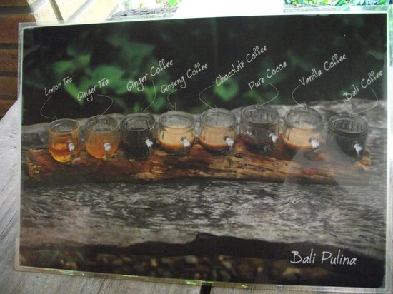 Bali Pulina Agro Tourism: List of coffee samples available