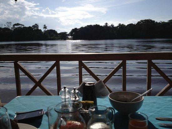 Tortuga Lodge & Gardens: View of the river during breakfast