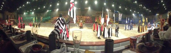 Medieval Times Maryland Castle: Panoramic shot from first row, center arena