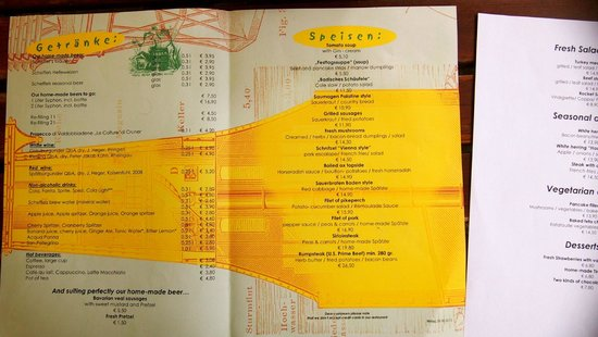 Kulturbrauerei: Menu offerings