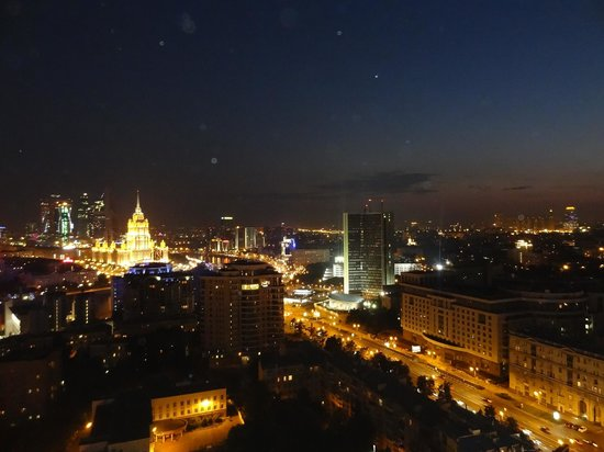 Panoramic view from Kalina bar balcony at night