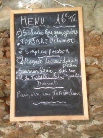 La Mesa Caprichosa: Le menu (pas de soupe de poissons, la patronne n'a pas trouvé les poissons nécessaires ce jour)