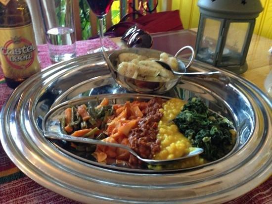 Kokeb Ethiopian Restaurant : veggie combo and the fish dish