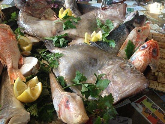 A L'Ange : repas entre amis : présentation des poissons pour la bouillabaisse