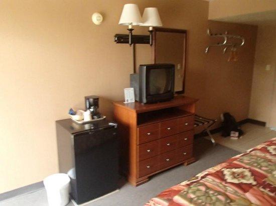 Page Boy Motel: Le frigo et la TV dans la chambre
