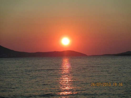 Sunset view from Siparos Restaurant in July