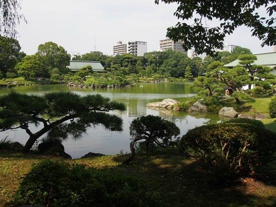 Kiyosumi Teien: 遠くに東京スカイツリーの見える清澄庭園