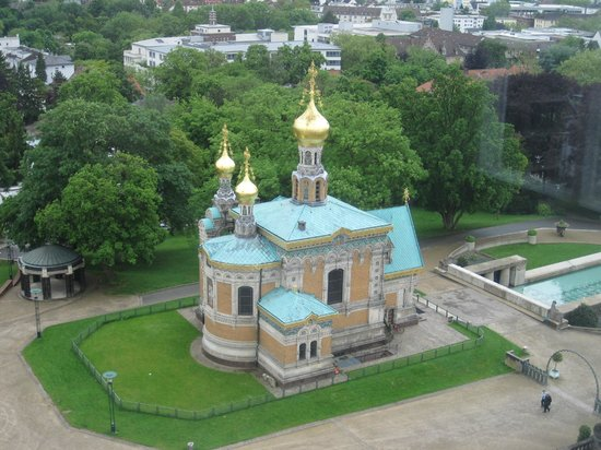 Mathildenhöhe und Jugendstilkolonie: Russian Chapel Darmstadt as seen from Hochzeitsturm