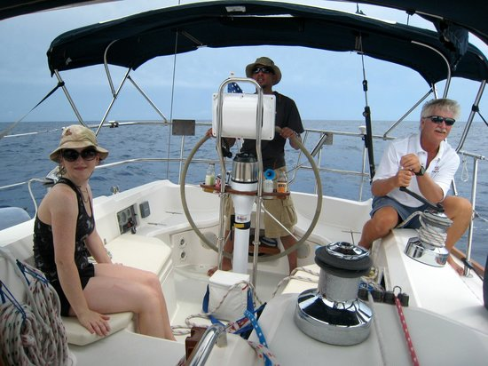 Captain Ron Yacht Charters: Steering is fun and easy.