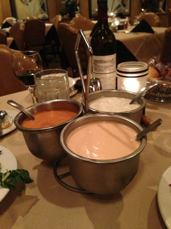 Tom's Steak House: Their salad dressing caddy is HUGE!