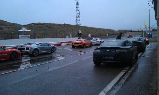 Bleekemolens Race Planet Zandvoort: Some of the cars you can drive (Aston Martin V8, Lamborghini Gallardo, Ferrari F430)