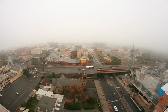 Oaks Embassy: foggy adelaide morning overlooking north and west terrace